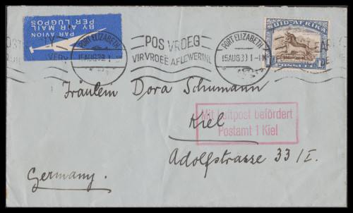 South Africa tied Air Mail label 15AUG1939