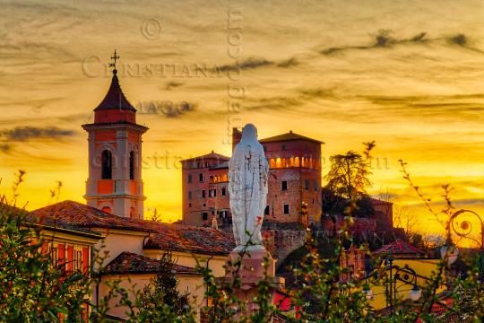 sunset on Italian medieval village