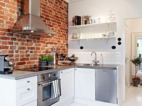 28 exposed brick wall kitchen design