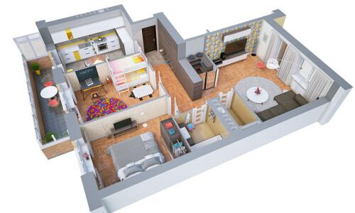 2 bedroom hall kitchen design