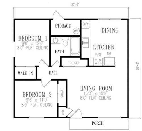 2 bedroom house plans 1000 square feet