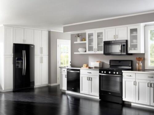 black appliances in kitchen design