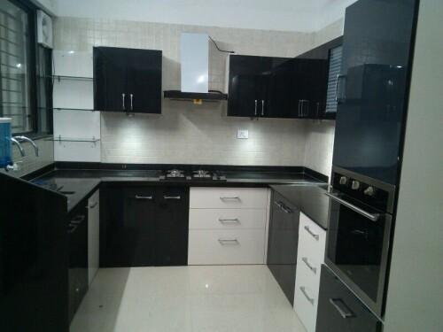 c shaped modular kitchen black white