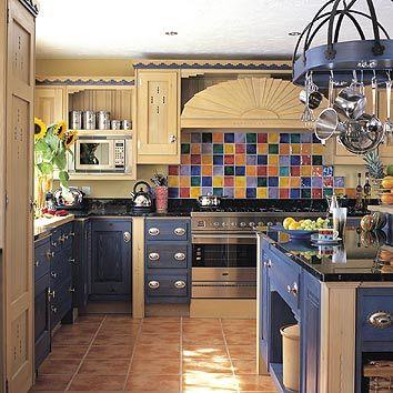 dark blue light wood kitchen cabinets