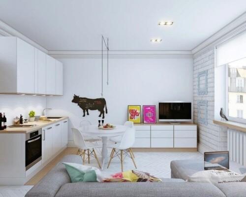 design kitchen living room of 20 square