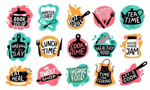 kitchen logo images free vectors stock