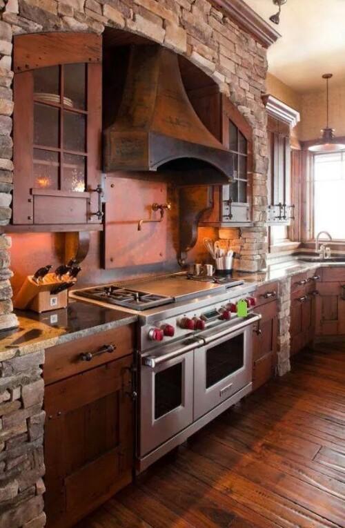 rock on wood kitchen design