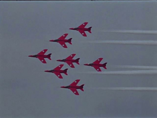 Harrier Jets Taking Off, Red Arrow Jets Flying in Formation, UK, 1960s - 1970s