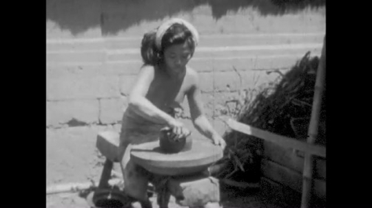 Samoa, South Pacific Islands, Young Girl Making Pottery, Girls Bathing Nude,  1930s