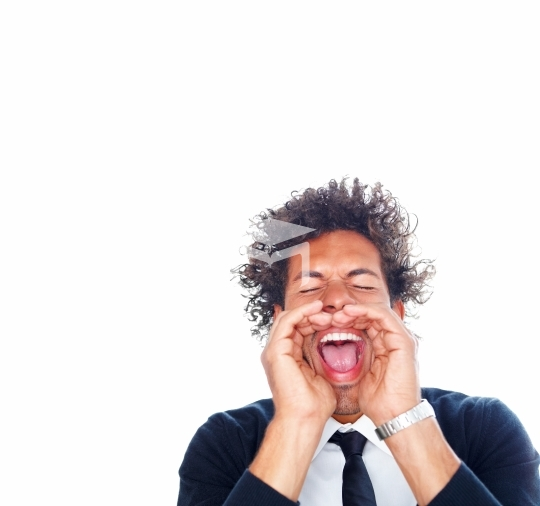 Closeup of an businessman screaming over a white background
