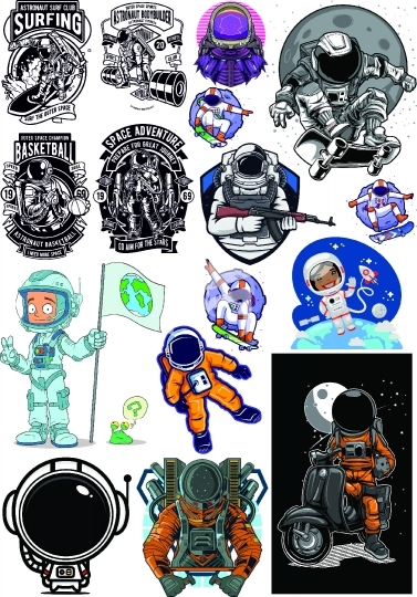 astronaut set vector