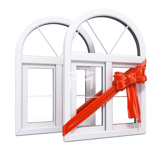 white plastic windows with red ribbon as a gift 3d illustration