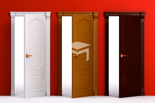 color wooden classic doors on the red wall for house interior