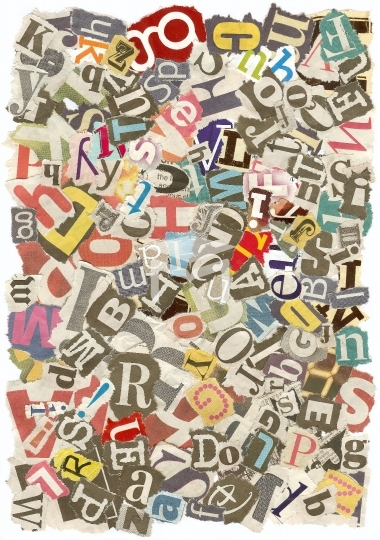 Background with letters torn from newspapers, rough edges