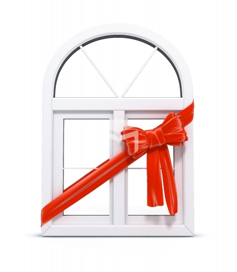 plastic window with red ribbon as a gift 3d illustration