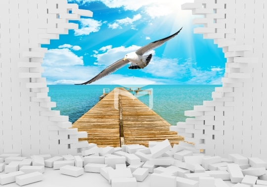 3d brick sea and seagull background