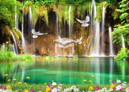 waterfall natural background