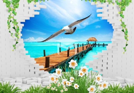 3d brick frame landscapes sea