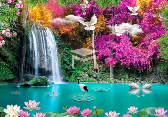 waterfall home mural wall background