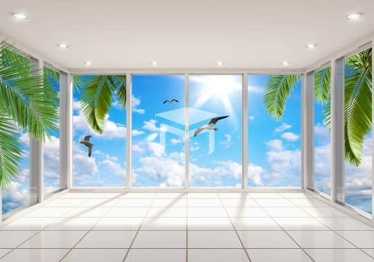 3d window landscapes view wallpaper