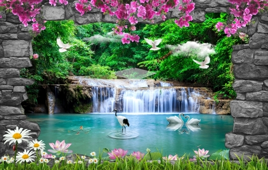 3d stone frame waterfall view background