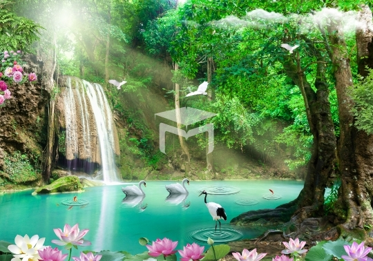 waterfall and home mural wall background