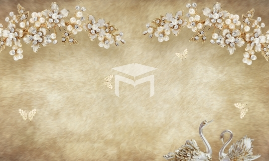 3d wallaper design and gold fower background