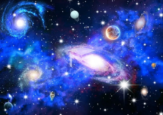Big Planets and shining stars galaxy in space