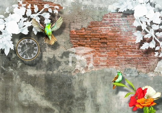 3D off brick flower and Colorful bird