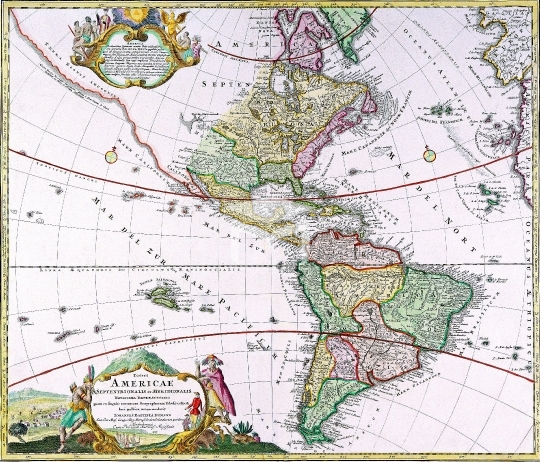 Antique Maps of the World,Map,The Americas,Homanns Heirs,c 1746