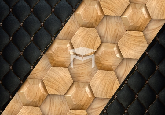 hexagon wood and black background