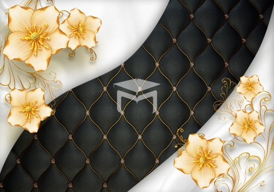 gold flower and black background