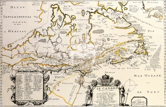 Antique Maps of the World,Map,Map of Canada,Samuel De Champlain,c 1677