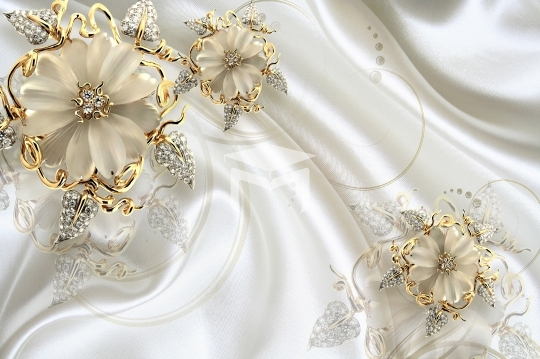 wedding gold flower and silk background