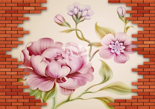3d brick and floral background