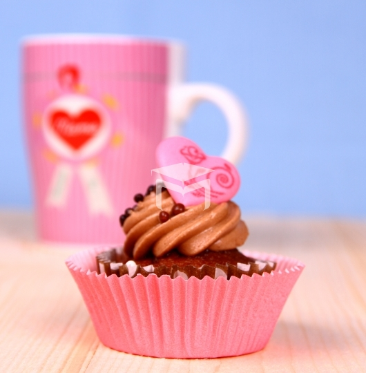 Chocolate cupcakes with Heart and coffee cup