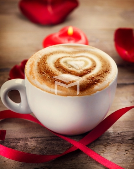 Valentine's Day Coffee or Cappuccino with heart on foam