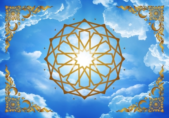 sky clouds and gold motif