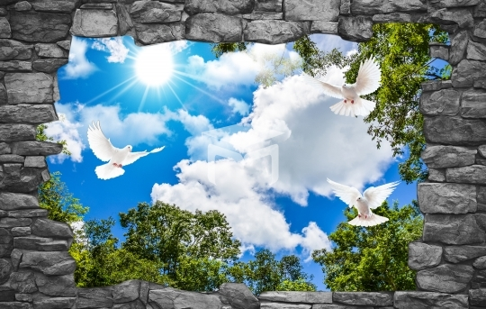 3d sky clouds and beautiful stone frame