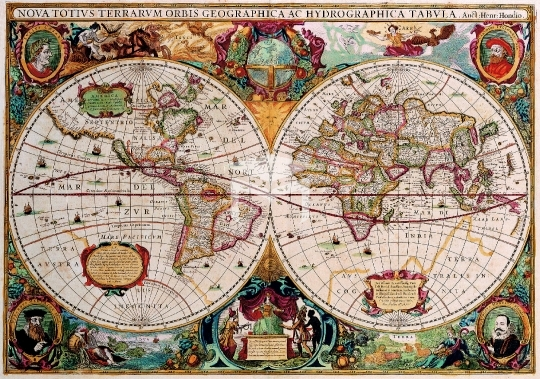 Antique Maps of the World,Map,Double Hemisphere Map,Henricus Hondius,c 1630
