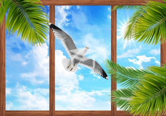 3d sky clouds and beautiful wood frame