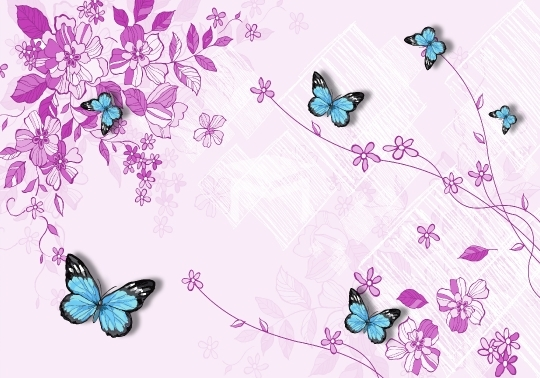 purple flower and butterfly background wallpaper