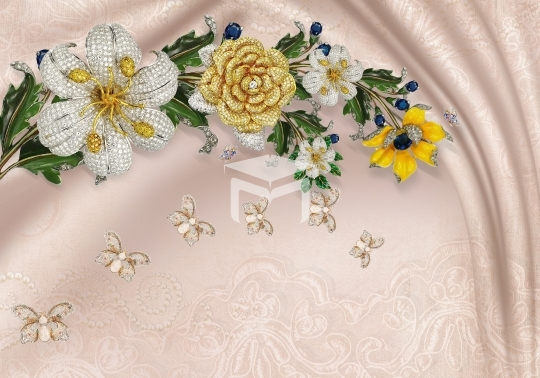 3d gold flower design wall mural