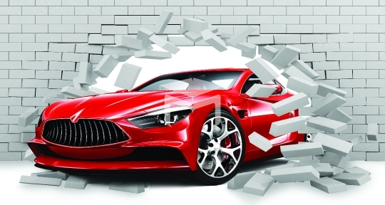 3d brick wall car