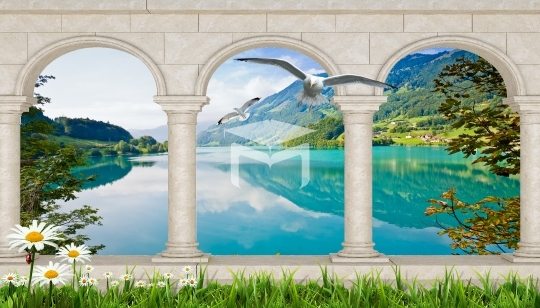 stone frame lake wall and nature landscapes