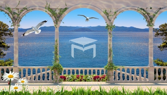 stone frame sea wall and nature landscapes