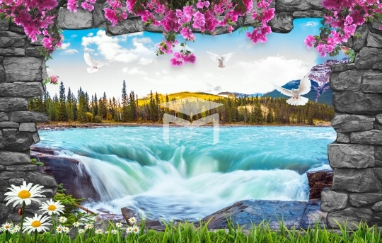 stone frame waterfall wall and nature landscapes