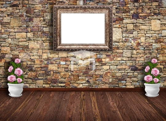 Room with brick wall frame