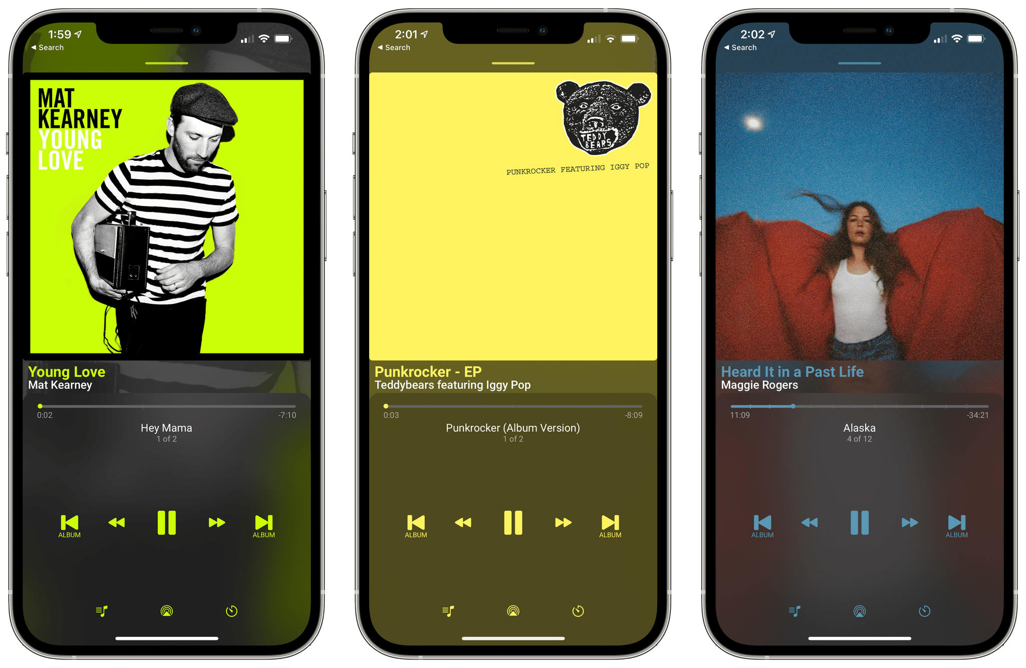 You can optionally tint the app's UI elements to complement the artwork of the currently playing album.