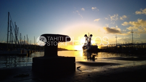 Port Of Tahiti, Boats and Sunset, Coucher de Soleil, Port de Papeete